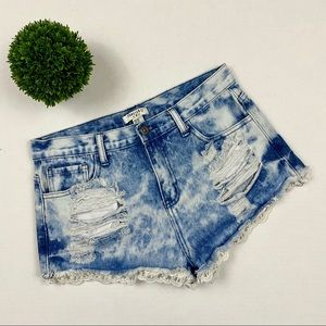 Forever 21 High-Rise Stone-Wash Distressed Shorts